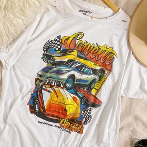 Chevy Corvette Distressed Race Car Graphic Tee